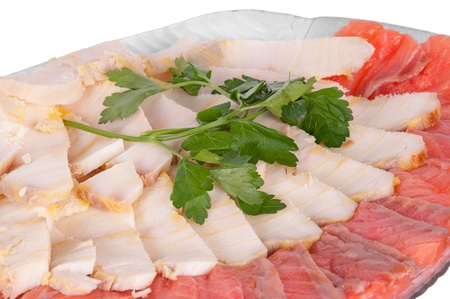 stellate: white and red fish in a plate on a white background