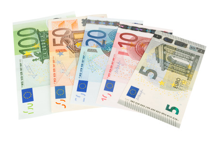 Euro banknotes closeup on white background Standard-Bild