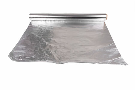 aluminum foil food on a white background photo