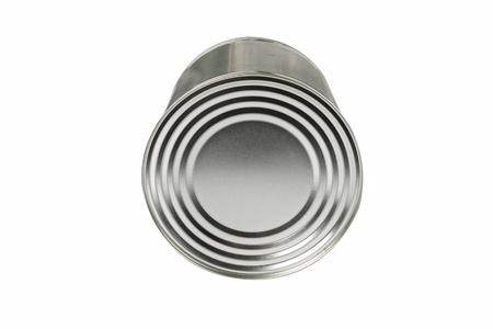 canned food: aluminum tin can for food on a white background