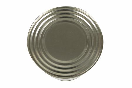 chrome base: alluminio barattolo di latta per il cibo su uno sfondo bianco Archivio Fotografico