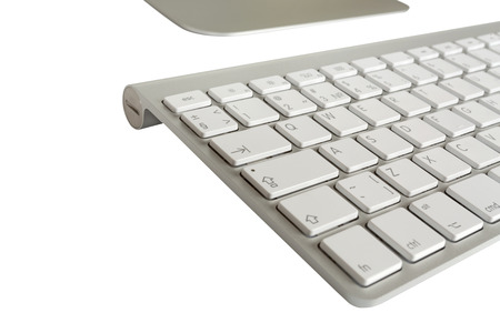 alphabet computer keyboard: Wireless computer keyboard with the English alphabet and mouse  on white background