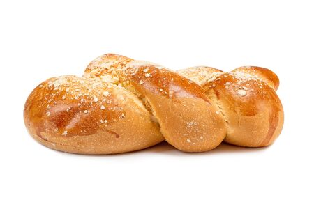 challah: challah loaf of fresh coarsely on a white background