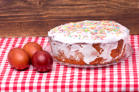 candied: cake candied fruit and sugar powder and colored eggs