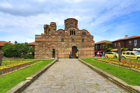 pantocrator: NESSEBAR, BULGARIA - JUNE 16:The Christ Pantocrator Curch is dated back 13th - 14th century, on June, 16 2013 in Nessebar, Bulgaria. Italys one of the most remarquable medieval churches in Nessebar.