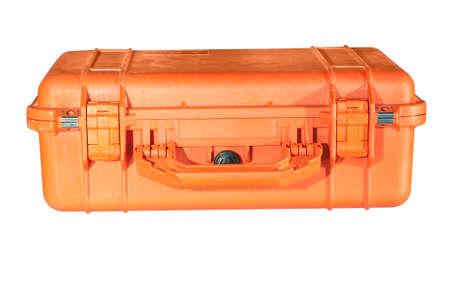medic: Orange suitcase medic on a white background Stock Photo