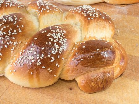 artisan bakery: homemade round bread on a board Stock Photo