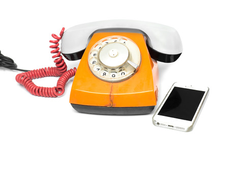 old phone on a white background Stock Photo