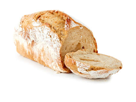 home baked: home baked bread on a white background