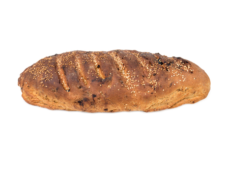 homemade white bread with raisins on a white background Standard-Bild