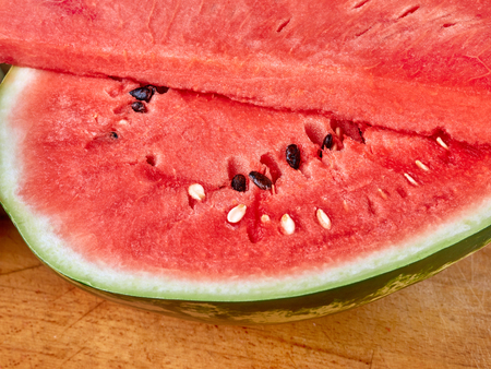 Watermelon cut into close-up on the table Standard-Bild