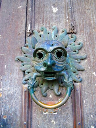 durham: Sanctuary Knocker, Durham Cathedral, Durham, England, UK. The Sanctuary Knocker is an ornamental knocker on the door of a cathedral. Under medieval English common law, these instruments supposedly afforded the right of asylum to anybody who touched them.
