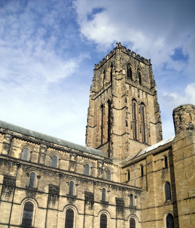 The Cathedral Church of Christ, Blessed Mary the Virgin and St Cuthbert of Durham (usually known as Durham Cathedral) is a cathedral in the city of Durham, England, the seat of the Anglican Bishop of Durham. Stock Photo