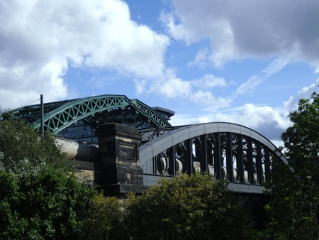 Wearmouth Bridges with Train Stock Photo - 11906684