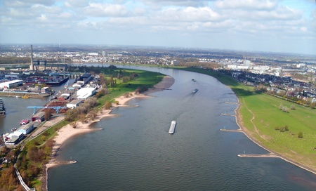 Aerial View of The River Rhine at Dusseldorf