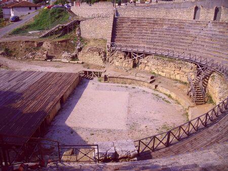 amphitheatre: Roman Amphitheatre, Ohrid, Macedonia Stock Photo