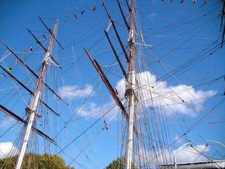 sark: Masts of the Cutty Sark, Greenwich, London Stock Photo