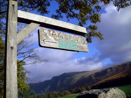 lake district: Strangends Sign in English Lake District, Cumbria