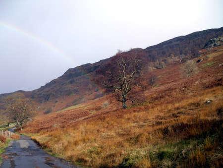 tarn: Rainbow at Blea Tarn Stock Photo