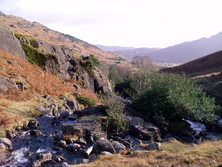 langdale: Stream in the Langdales in the English Lake District Stock Photo