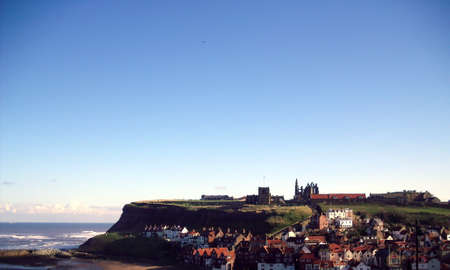 north yorkshire: View of Whitby Abbey and Town, North Yorkshire