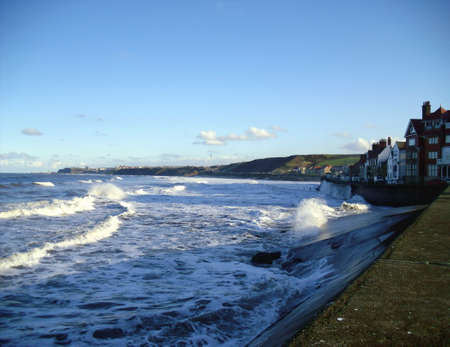 north yorkshire: Waves at Sandseand Near Whitby in North Yorkshire Stock Photo