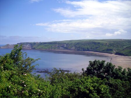 north yorkshire: Runswick Bay in North Yorkshire taken from above Stock Photo