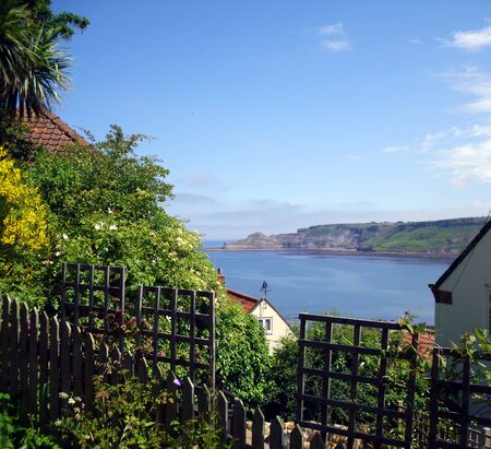 rooftops: View of Runswick Bay through the Rooftops of the town