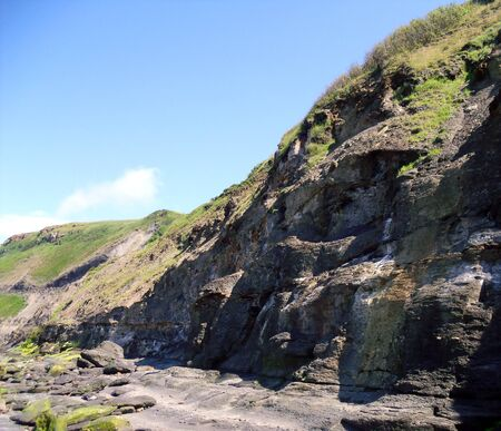 north yorkshire: Rocky Cliff at Runswick Bay in North Yorkshire
