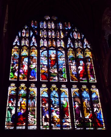 Stained Glass Window Taken From Inside Norwich Catherdral Stock Photo - 75783995