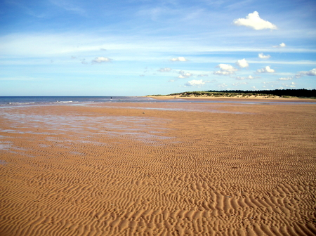 Rippled Sand at Holkham Beach in Norfolk Stock Photo