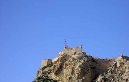 Mount Benacantil and Santa Barbara Castle in Alicante, Spain Stock Photo