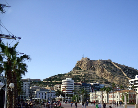 Mount Benacantil and Santa Barbara Castle in Alicante, Spain Taken From The Marina Editorial