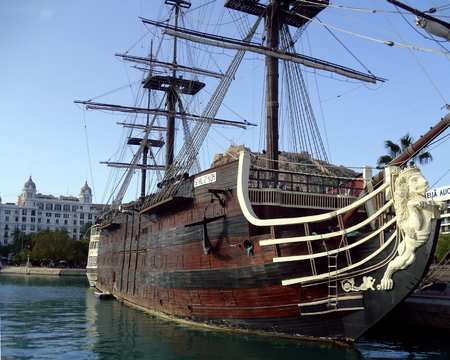 Santisma Trinidad, Old Ship Moored in Alicante Marina, Spain