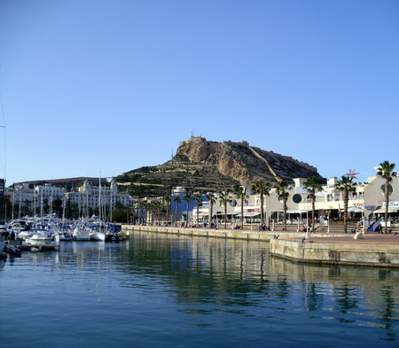 Alicante Marina with Mount Benacantil and Santa Barbara Castle in the Background, Costa Blanca, Spain