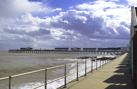 Southwold Pier in Suffolk from the  Promenade in Suffolk Stock Photo