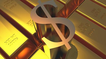 Goldbarren und Dollar-Symbol Standard-Bild - 85677362