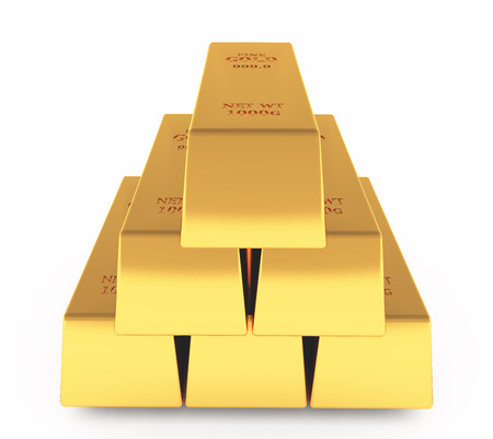 gold bars. 3D rendering.