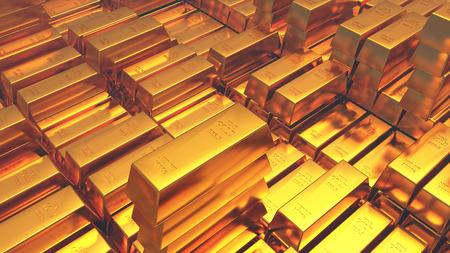 Goldbarren. 3D-Rendering Standard-Bild - 85626077