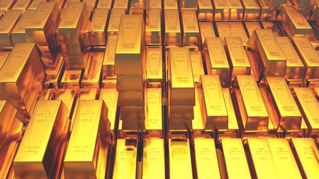 Goldbarren. 3D-Rendering Standard-Bild - 85626079