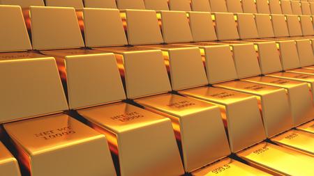 gold bars. 3D rendering.