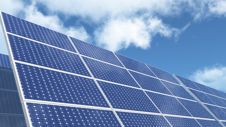 Solar panels-green free energy with clouds background.