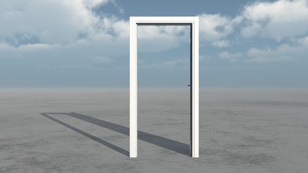 White door frame on empty land