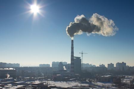 paesaggio industriale: Il paesaggio industriale nebbioso Archivio Fotografico
