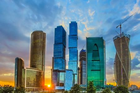 The Moscow sky scrapers at night evening