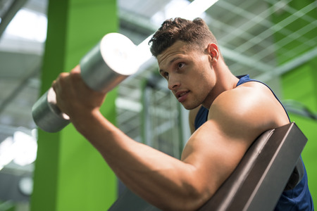 levantar peso: The sportsman doing biceps exercise with a dumbbell in the gym Foto de archivo