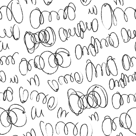 Hand drawn artistic seamless pattern with abstract simply elements. Doodle ink background for textile and wrapping paper. Handwritten border set.
