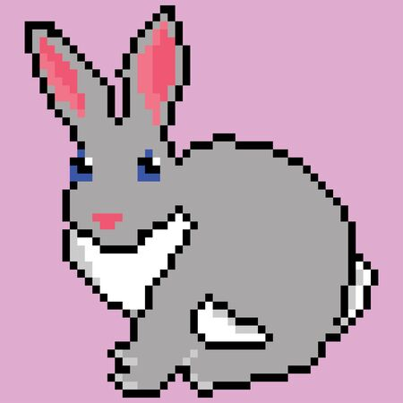 Grey cute pixelated rabbit mammal 8 bit Pixel Art - Isolated Vector Illustration