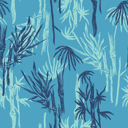 Bamboo seamless tropical pattern on exotic blue background. Tropical asian plant wallpaper, chinese or japanese nature textile print.