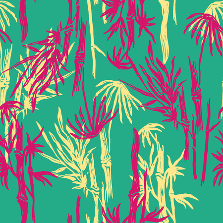 Bamboo seamless pattern with tropical leaves on exotic trendy background. Tropical asian plant wallpaper, chinese or japanese nature swimwear textile print.